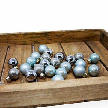ToCi Mini Weihnachtskugeln aus Glas in hellblau und Silber kleine Christbaumkugeln 24ger Set - 6