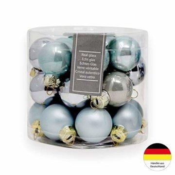 ToCi Mini Weihnachtskugeln aus Glas in hellblau und Silber kleine Christbaumkugeln 24ger Set - 7