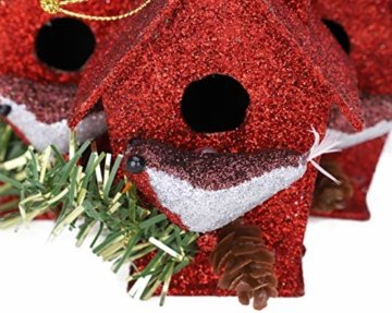 Toyland® Packung mit 3-10 cm Robins Birdhouse Glittery Tree Ornaments - Christbaumschmuck - 2