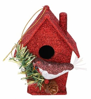 Toyland® Packung mit 3-10 cm Robins Birdhouse Glittery Tree Ornaments - Christbaumschmuck - 4