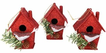Toyland® Packung mit 3-10 cm Robins Birdhouse Glittery Tree Ornaments - Christbaumschmuck - 1