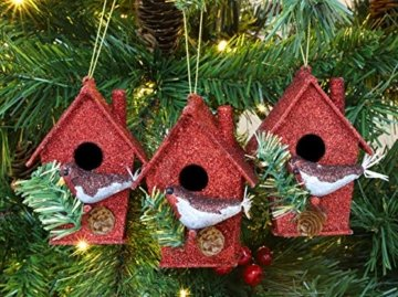 Toyland® Packung mit 3-10 cm Robins Birdhouse Glittery Tree Ornaments - Christbaumschmuck - 5