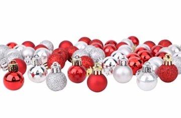 Toyland® Set Mit 50 Mini Weihnachtskugeln 25 Rot 25 Silber 2,5 cm (25 mm) - 1