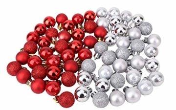 Toyland® Set Mit 50 Mini Weihnachtskugeln 25 Rot 25 Silber 2,5 cm (25 mm) - 3
