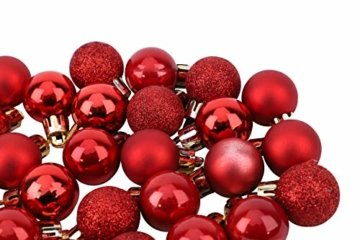 Toyland® Set Mit 50 Mini Weihnachtskugeln 25 Rot 25 Silber 2,5 cm (25 mm) - 7