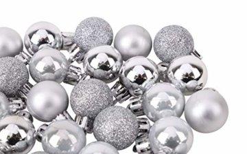 Toyland® Set Mit 50 Mini Weihnachtskugeln 25 Rot 25 Silber 2,5 cm (25 mm) - 8