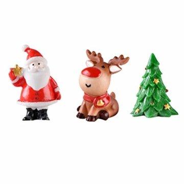 Toyvian 12 Stücke Weihnachten Miniatur Ornament Weihnachtsmann Figur Rentier Schneemann Dekofigur Miniaturfiguren Tischdeko Sukkulenten Bonsai Blumentopf Micro Landschaft Dekoration - 2