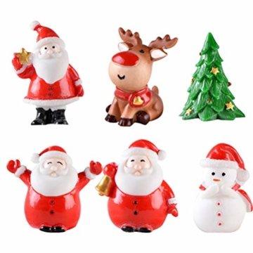 Toyvian 12 Stücke Weihnachten Miniatur Ornament Weihnachtsmann Figur Rentier Schneemann Dekofigur Miniaturfiguren Tischdeko Sukkulenten Bonsai Blumentopf Micro Landschaft Dekoration - 1
