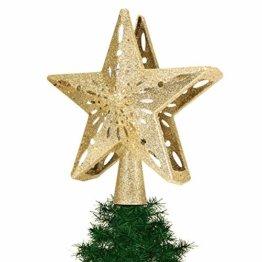 Tuniya Christbaumspitze mit Weihnachtsstern, glitzernd, beleuchtete Baumspitze, Projektor, Lichtwinkel, verstellbar, Festliche Weihnachtsdekoration, goldfarben, 26 * 24 * 9.5cm - 1