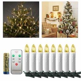 UISEBRT 30er LED Weihnachtskerzen mit Fernbedienung Kabellos Warmweiß Kerzen Flammenlose für Weihnachtsbaum, Weihnachtsdeko, Hochzeitsdeko, Geburtstags, Party, Feiertag (30er mit Batterie) - 1