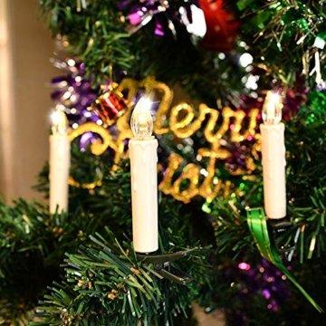 UISEBRT 30er LED Weihnachtskerzen mit Fernbedienung Kabellos Warmweiß Kerzen Flammenlose für Weihnachtsbaum, Weihnachtsdeko, Hochzeitsdeko, Geburtstags, Party, Feiertag (30er mit Batterie) - 4
