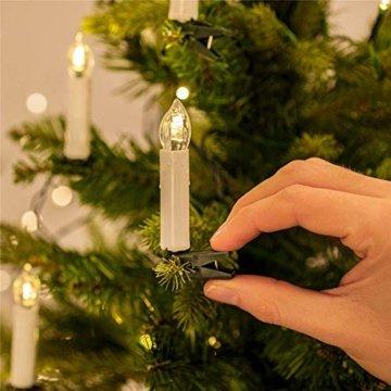 UISEBRT 30er LED Weihnachtskerzen mit Fernbedienung Kabellos Warmweiß Kerzen Flammenlose für Weihnachtsbaum, Weihnachtsdeko, Hochzeitsdeko, Geburtstags, Party, Feiertag (30er mit Batterie) - 7