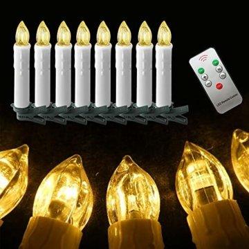UISEBRT 30er LED Weihnachtskerzen mit Fernbedienung Kabellos Warmweiß Kerzen Flammenlose für Weihnachtsbaum, Weihnachtsdeko, Hochzeitsdeko, Geburtstags, Party, Feiertag (30er mit Batterie) - 8