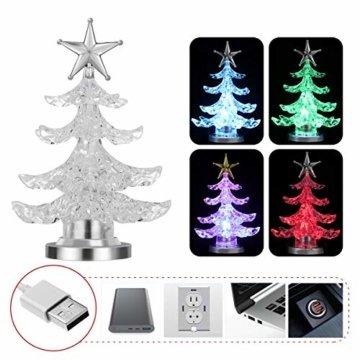 Uonlytech Acryl weihnachtsbaum nachtlicht usb bunt leuchtende desktop lampe led nachtlicht weihnachtsdekoration für baby zimmer schlafzimmer home party 2 stücke (goldene silber) - 2