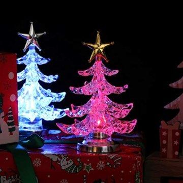 Uonlytech Acryl weihnachtsbaum nachtlicht usb bunt leuchtende desktop lampe led nachtlicht weihnachtsdekoration für baby zimmer schlafzimmer home party 2 stücke (goldene silber) - 3