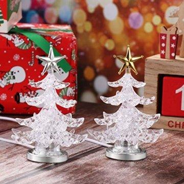 Uonlytech Acryl weihnachtsbaum nachtlicht usb bunt leuchtende desktop lampe led nachtlicht weihnachtsdekoration für baby zimmer schlafzimmer home party 2 stücke (goldene silber) - 4
