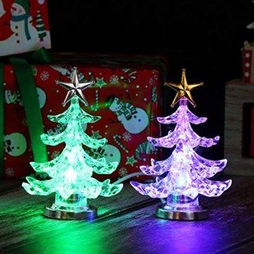 Uonlytech Acryl weihnachtsbaum nachtlicht usb bunt leuchtende desktop lampe led nachtlicht weihnachtsdekoration für baby zimmer schlafzimmer home party 2 stücke (goldene silber) - 1