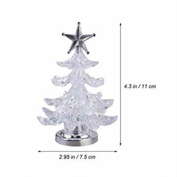 Uonlytech Acryl weihnachtsbaum nachtlicht usb bunt leuchtende desktop lampe led nachtlicht weihnachtsdekoration für baby zimmer schlafzimmer home party 2 stücke (goldene silber) - 5