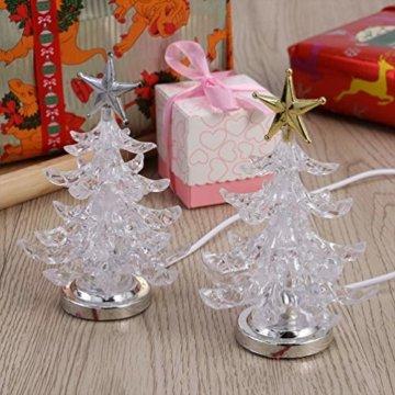 Uonlytech Acryl weihnachtsbaum nachtlicht usb bunt leuchtende desktop lampe led nachtlicht weihnachtsdekoration für baby zimmer schlafzimmer home party 2 stücke (goldene silber) - 6