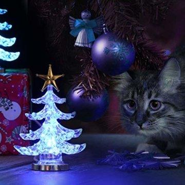Uonlytech Acryl weihnachtsbaum nachtlicht usb bunt leuchtende desktop lampe led nachtlicht weihnachtsdekoration für baby zimmer schlafzimmer home party 2 stücke (goldene silber) - 7