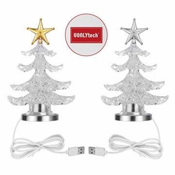 Uonlytech Acryl weihnachtsbaum nachtlicht usb bunt leuchtende desktop lampe led nachtlicht weihnachtsdekoration für baby zimmer schlafzimmer home party 2 stücke (goldene silber) - 8
