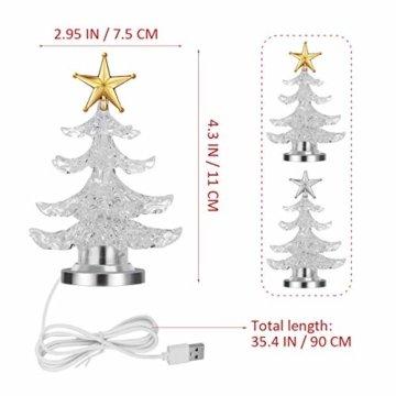 Uonlytech Acryl weihnachtsbaum nachtlicht usb bunt leuchtende desktop lampe led nachtlicht weihnachtsdekoration für baby zimmer schlafzimmer home party 2 stücke (goldene silber) - 9