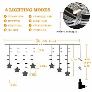 Uping 180 LED Sterne Lichterkette, LED Lichtervorhang, Wasserdicht 8 Modi Außenlichterkette Deko für Garten, Haus, Hochzeit, Party, Warmweiß - 4