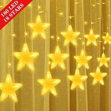 Uping 180 LED Sterne Lichterkette, LED Lichtervorhang, Wasserdicht 8 Modi Außenlichterkette Deko für Garten, Haus, Hochzeit, Party, Warmweiß - 1