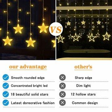 Uping 180 LED Sterne Lichterkette, LED Lichtervorhang, Wasserdicht 8 Modi Außenlichterkette Deko für Garten, Haus, Hochzeit, Party, Warmweiß - 5