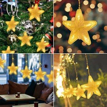 Uping 180 LED Sterne Lichterkette, LED Lichtervorhang, Wasserdicht 8 Modi Außenlichterkette Deko für Garten, Haus, Hochzeit, Party, Warmweiß - 6