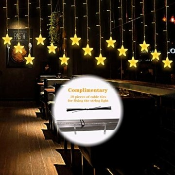 Uping 180 LED Sterne Lichterkette, LED Lichtervorhang, Wasserdicht 8 Modi Außenlichterkette Deko für Garten, Haus, Hochzeit, Party, Warmweiß - 7