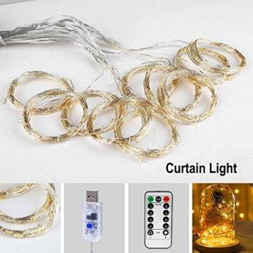 Vegena LED USB Lichtervorhang 3m x 3m, 300 LEDs Lichterkettenvorhang mit 8 Modi Lichterkette Gardine für Partydekoration Schlafzimmer Innenbeleuchtung Weihnachten Deko Warmweiß [Energieklasse A+++] - 2
