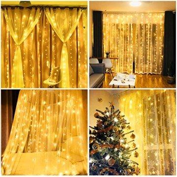 Vegena LED USB Lichtervorhang 3m x 3m, 300 LEDs Lichterkettenvorhang mit 8 Modi Lichterkette Gardine für Partydekoration Schlafzimmer Innenbeleuchtung Weihnachten Deko Warmweiß [Energieklasse A+++] - 4