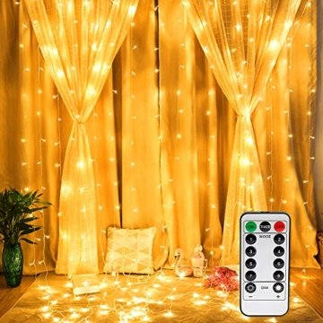 Vegena LED USB Lichtervorhang 3m x 3m, 300 LEDs Lichterkettenvorhang mit 8 Modi Lichterkette Gardine für Partydekoration Schlafzimmer Innenbeleuchtung Weihnachten Deko Warmweiß [Energieklasse A+++] - 1
