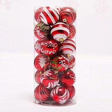 Venkaite Weihnachtskugeln Ornamente, Weihnachtsbaum Bälle Dekorationen für Weihnachten Hochzeitsfest Dekoration (24 / Pack, gemalte Kugel, 2,36 Zoll 60mm), Rot - 2