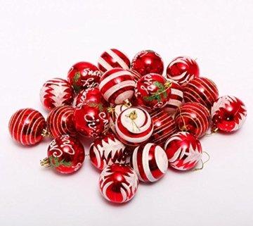 Venkaite Weihnachtskugeln Ornamente, Weihnachtsbaum Bälle Dekorationen für Weihnachten Hochzeitsfest Dekoration (24 / Pack, gemalte Kugel, 2,36 Zoll 60mm), Rot - 5