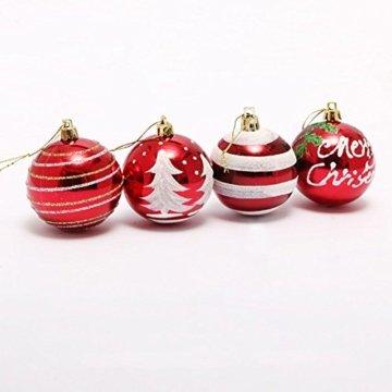 Venkaite Weihnachtskugeln Ornamente, Weihnachtsbaum Bälle Dekorationen für Weihnachten Hochzeitsfest Dekoration (24 / Pack, gemalte Kugel, 2,36 Zoll 60mm), Rot - 6