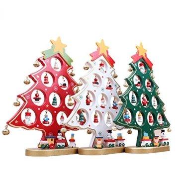 Weihnachtliche Tischdekoration von Luoem - kleiner Holz-Weihnachtsbaum in grün - 1