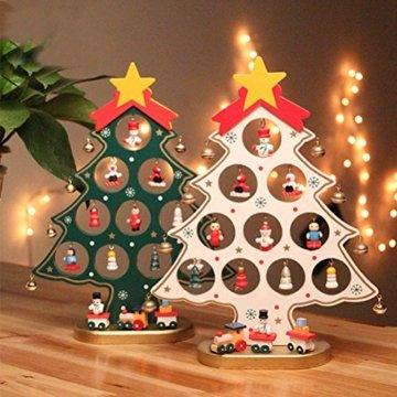 Weihnachtliche Tischdekoration von Luoem - kleiner Holz-Weihnachtsbaum in grün - 2