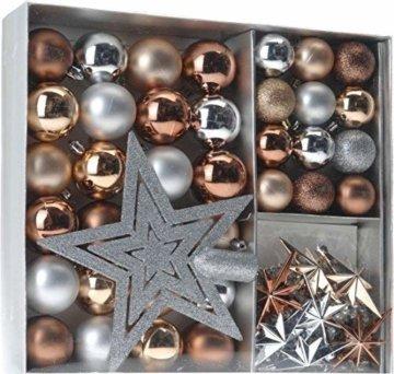 Weihnachtsbaumschmuck Set - 45 teilig in Metalltönen (Kupfer, Silber, Gold etc.) - 36 Kugeln, Weihnachtsbumspitze, Dekosterne und Kette - 1