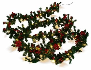 Weihnachtsdeko Tannen- Girlande 270cm mit 20er LED - Lichterkette und Deko, rot - 1