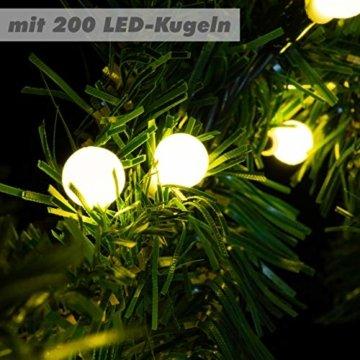 Weihnachtsgirlande mit 200 LED Kugeln gefrostet – Weihnachtsschmuck Tannengirlande grünes Kabel innen außen Trafo Timer 180 Spitzen - 2