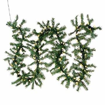 Weihnachtsgirlande mit 200 LED Kugeln gefrostet – Weihnachtsschmuck Tannengirlande grünes Kabel innen außen Trafo Timer 180 Spitzen - 1