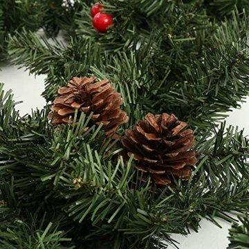 Weihnachtsgirlande Tannengirlande 270CM Girlande Weihnachten Dekoriert Grün Künstlich Geschmückt Tannen Girlande mit Roter Beeren Zapfen Weihnachtsdeko Schöne Dekorationen für Kamine Treppen Wand Tür - 2