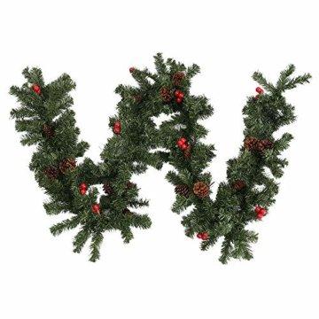 Weihnachtsgirlande Tannengirlande 270CM Girlande Weihnachten Dekoriert Grün Künstlich Geschmückt Tannen Girlande mit Roter Beeren Zapfen Weihnachtsdeko Schöne Dekorationen für Kamine Treppen Wand Tür - 6