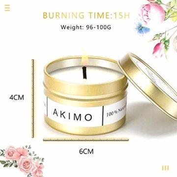 Weihnachtskerzen mit Grußkarte Geschenkbox - AKIMO Natural Soy Wax Vegane Kerzen, Geschenkset für Frauen, Thanksgiving, Jubiläum, Aromatherapie, Bad, Yoga - 4er Pack - 2