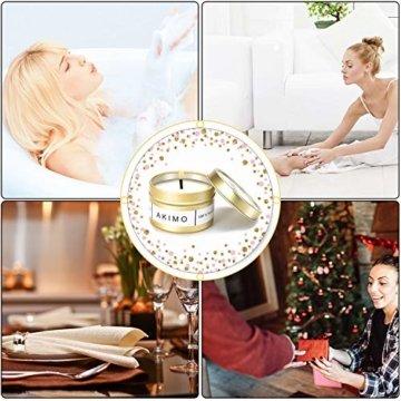 Weihnachtskerzen mit Grußkarte Geschenkbox - AKIMO Natural Soy Wax Vegane Kerzen, Geschenkset für Frauen, Thanksgiving, Jubiläum, Aromatherapie, Bad, Yoga - 4er Pack - 3