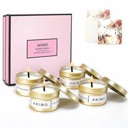 Weihnachtskerzen mit Grußkarte Geschenkbox - AKIMO Natural Soy Wax Vegane Kerzen, Geschenkset für Frauen, Thanksgiving, Jubiläum, Aromatherapie, Bad, Yoga - 4er Pack - 1
