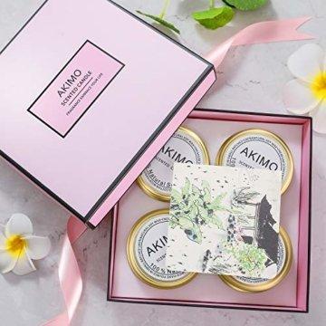 Weihnachtskerzen mit Grußkarte Geschenkbox - AKIMO Natural Soy Wax Vegane Kerzen, Geschenkset für Frauen, Thanksgiving, Jubiläum, Aromatherapie, Bad, Yoga - 4er Pack - 4