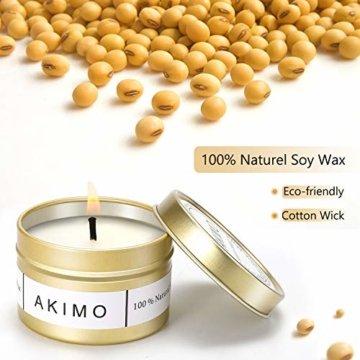 Weihnachtskerzen mit Grußkarte Geschenkbox - AKIMO Natural Soy Wax Vegane Kerzen, Geschenkset für Frauen, Thanksgiving, Jubiläum, Aromatherapie, Bad, Yoga - 4er Pack - 5